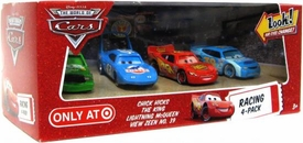 Disney / Pixar CARS Movie Exclusive 1:55 Die Cast Car with Lenticular Eyes Racing 4-Pack Chick Hicks, King, Lightning McQueen & View Zeen