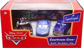 Disney / Pixar CARS Movie 1:55 Die Cast Figure 3-Pack Courtroom Crew with Sheriff, Doc & Sally