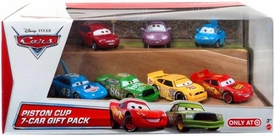 Disney / Pixar CARS Movie Exclusive 1:55 Die Cast Car 7-Pack Piston Cup [Revster, Widetrack, Puddlejumper,  McQueen, Chick, Fiber Fuel & King]