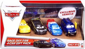 Disney / Pixar CARS Movie Exclusive 1:55 Die Cast Cars Race Day Fan 4-Pack #1 [Clutch Foster, Jeff Gorvette, Raoul CaRoule & Lewis Hamilton]