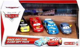 Disney / Pixar CARS Movie Exclusive 1:55 Die Cast Cars Race Day Fan 4-Pack #2 [Lightning McQueen, Marty Brakeburst, Spare O Mint & Trunk Fresh]