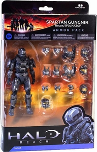 Halo Reach McFarlane Toys Armor Pack Spartan Gungnir Figure & 3 Sets of STEEL Armor [Recon, JFO & Hazop]