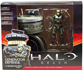 Halo Reach McFarlane Toys Deluxe Vehicle Box Set Generator Defense with Spartan JFO [Sage / Steel]