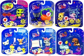 Littlest Pet Shop 2009 Assortment 'B' Series 3 Set of 6 Collectible Figures [Crocodile, Dachshund, Bunny, Sugar Glider, Mouse & Rat, Black Cat with Pumpkin]