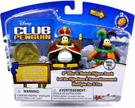 Disney Club Penguin Series 6 Mix 'N Match Mini Figure Pack Court Jester & King [Includes Coin with Code!]
