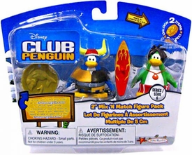 Disney Club Penguin Series 6 Mix 'N Match Mini Figure Pack Surfer Dude & Viking Penguin [Includes Coin with Code!]