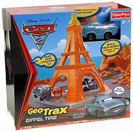 Disney / Pixar CARS 2 Movie Geotrax Playset Eiffel Tire Crash [Includes Finn McMissile]