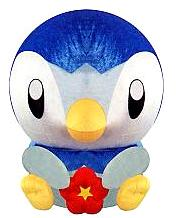 Pokemon DP Japanese Banpresto 10 Inch Plush Round-Head Piplup with Red Flower