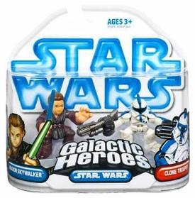 Star Wars 2009 Galactic Heroes Mini Figure 2-Pack Anakin & EPII Clone Trooper [Blue Trim]