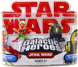 Star Wars 2009 Galactic Heroes Mini Figure 2-Pack Ahsoka Tano & R3-S6 [Goldie]