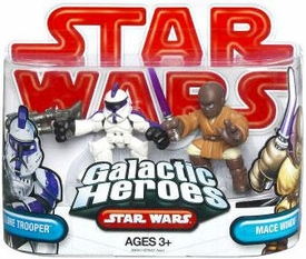 Star Wars 2009 Galactic Heroes Mini Figure 2-Pack Assault Battalion Clone Trooper & Mace Windu