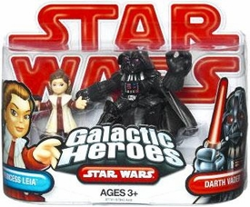 Star Wars 2009 Galactic Heroes Mini Figure 2-Pack Princess Leia & Darth Vader