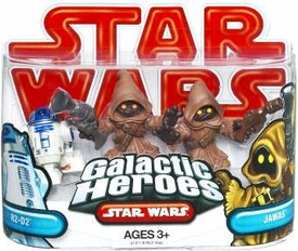 Star Wars 2009 Galactic Heroes Mini Figure 2-Pack 2x Jawas & R2-D2