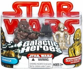 Star Wars 2009 Galactic Heroes Mini Figure 2-Pack Chewbacca & Death Star Droid with Mouse Droid
