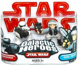 Star Wars 2009 Galactic Heroes Mini Figure 2-Pack Stormtrooper & Blockade Rebel Trooper