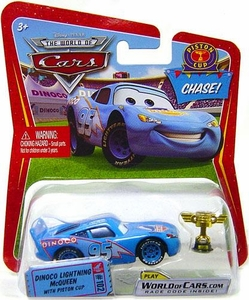 Disney / Pixar CARS Movie 1:55 Die Cast Car Dinoco Lightning McQueen with Piston Cup Trophy Chase Piece!