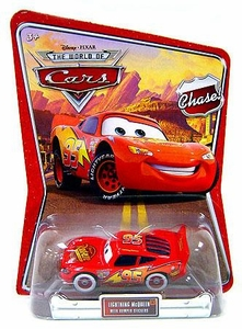 Disney / Pixar CARS Movie 1:55 Die Cast Car Series 3 World of Cars Bumper Stickers Lightning McQueen Chase Piece!