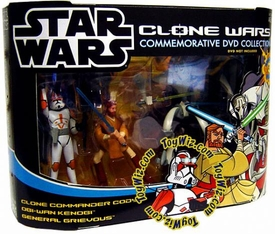 Star Wars Clone Wars Cartoon Network Exclusive Action Figure 3-Pack Clone Commander Cody, Obi-Wan Kenobi & General Grievous