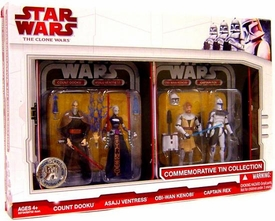 Star Wars Clone Wars 2009 Exclusive Collectible Tin Action Figure 4-Pack [Count Dooku, Asajj Ventress, Obi-Wan Kenobi & Captain Rex]