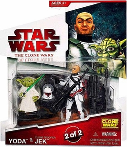 Star Wars 2009 Clone Wars Animated Action Figure 2-Pack Yoda & Clone Trooper Jek