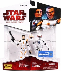 Star Wars 2009 Clone Wars Animated Exclusive Action Figure 2-Pack Clone Commander Cody & Clone Trooper Echo