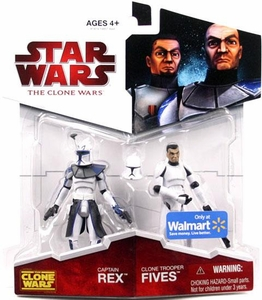 Star Wars 2009 Clone Wars Animated Exclusive Action Figure 2-Pack Captain Rex & Clone Trooper Fives