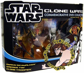 Star Wars Clone Wars Cartoon Network Exclusive Action Figure 3-Pack Anakin Skywalker, Saesee Tiin & Clone Trooper