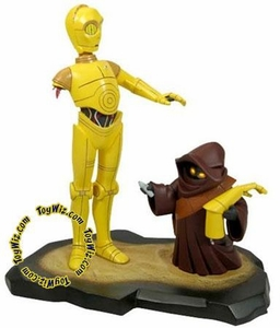 Star Wars Gentle Giant 8.5 Inch Maquette Statue Clone Wars Style C-3PO with Jawa