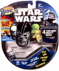Mighty Beanz 2010 Exclusive Star Wars Starter Pack Set with 1 CLONE WARS Bean [4 Beanz]
