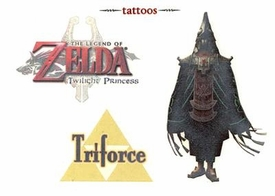 Legend of Zelda Twilight Princess Temporary Tattoo Set #5 King Zant & Triforce