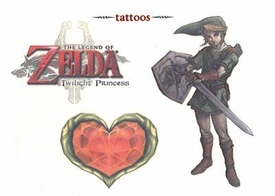Legend of Zelda Twilight Princess Temporary Tattoo Set #2 Link & Heart Container