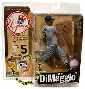 McFarlane Toys MLB Cooperstown Series 4 Action Figure Joe DiMaggio (New York Yankees) Gray Uniform Variant Awesome Figure!