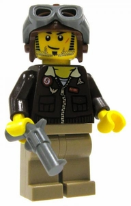 LEGO Pharaoh's Quest LOOSE Mini Figure Pilot Jake Raines with Pistol