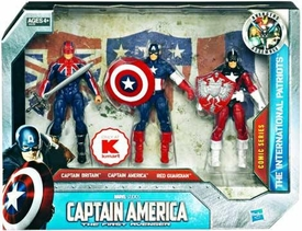 Captain America Movie Exclusive 4 Inch Action Figure 3-Pack The International Patriots [Captain Britain, Captain America & Red Guardian]