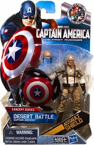 Captain America Movie 4 Inch Action Figure #16 Desert Battle Captain America [Assault Shield]