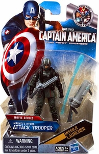 Captain America Movie 4 Inch Action Figure #15 Marvel's Hydra's ATTACK Trooper [Dark Green with Black Gloves & Boots]