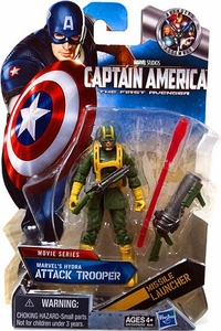 Captain America Movie 4 Inch Action Figure #15 Marvel's Hydra's ATTACK Trooper [Light Green with Yellow Gloves & Boots]