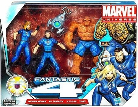 Marvel Universe 3.75 Inch Action Figure 3-Pack Fantastic Four {Classic Blue Costumes} [Invisible Woman, Mr. Fantastic & Thing with H.E.R.B.I.E]