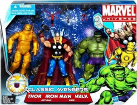 Marvel Universe 3.75 Inch Action Figure 3-Pack Classic Avengers [Thor, Iron Man & Hulk with Ant-Man & Wasp]