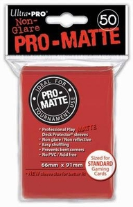Ultra Pro Card Supplies STANDARD Card Sleeves Non Glare Pro-Matte Red [50 Sleeves]