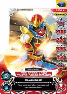 Power Rangers Action Card Game Guardians of Justice Single Card Ultra Rare 2-100 Red Dragon Fire Mystic Force Ranger