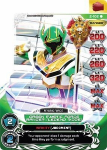 Power Rangers Action Card Game Guardians of Justice Single Card Rare 2-102 Green Mystic Force Ranger (Legend Mode)