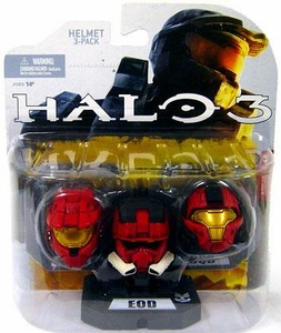 Halo 2009 McFarlane Toys Helmet 3-Pack [Wave 1] Mark VI, EOD & CQB [Red Set] COLLECTOR'S CHOICE!