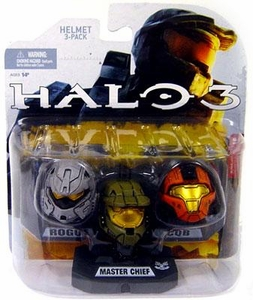 Halo 2009 Mcfarlane Toys Helmet 3-Pack [Wave 1] Master Chief, Rogue & CQB COLLECTOR'S CHOICE!