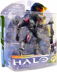 Halo 3 McFarlane Toys Series 5 [2009 Wave 2] Action Figure SILVER Elite Assault [Battle Rifle & Power Drainer] COLLECTOR'S CHOICE!