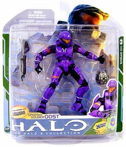 Halo 3 McFarlane Toys Series 5 [2009 Wave 2] Exclusive Action Figure VIOLET Spartan Soldier ODST [Assault Rifle & Flare] COLLECTOR'S CHOICE!
