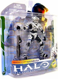 Halo 3 McFarlane Toys Series 5 [2009 Wave 2] Action Figure WHITE Spartan Soldier Hayabusa [Assault Rifle & Power Drainer]