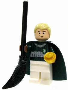 LEGO Harry Potter LOOSE Mini Figure Draco in Quidditch Gear with Snitch and Broom Light Flesh