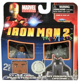 Iron Man 2 Movie Exclusive Minimates Mini Figure 2-Pack Lt. Colonel James Rhodes & Air Assault Drone