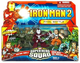 Iron Man 2 Super Hero Squad Mini Figure 3-Pack Final Battle [Mark V, Whiplash & Armor Drone]